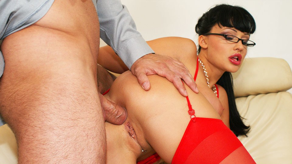 Big boobs and sexy red nylon Aletta Ocean drilled in asshole