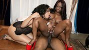 Interracial threesome orgy with big black one in tight asses