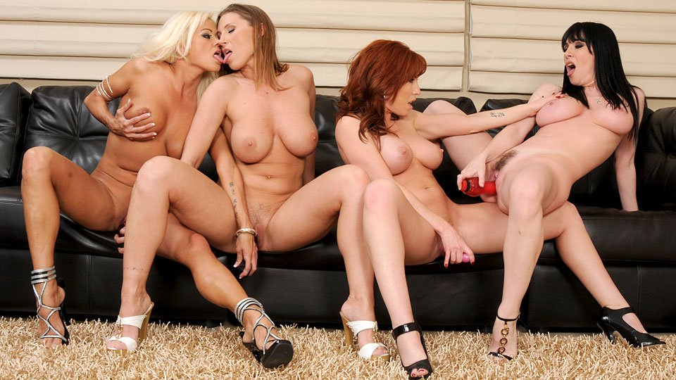 Four cock hungry moms decided to have toying sex party