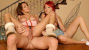Horny threesome orgy with Paige Love and Renae Cruz