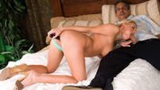 Riley toying pussy and sucking cock same time